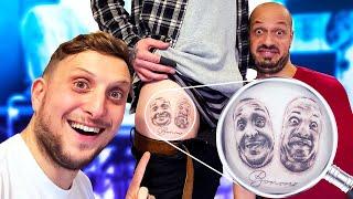 Il s'est fait tatouer nos 2 visages sur la cuisse, nous allons donc le surprendre en Belgique.