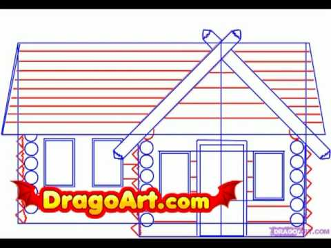 How To Draw A Log Cabin Step By