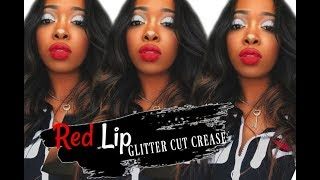 PROM SLAY MAKEUP | GLITTER CUT CREASE & RED LIP Video