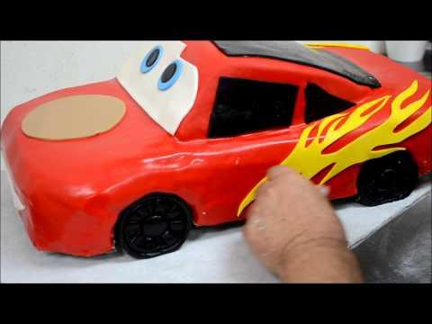 Cake Images In Car Shape : Lightning McQueen Car Shape Cake Recipe - YouTube