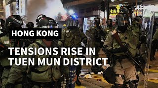 Tensions rise at protest in Hong Kong's Tuen Mun district | AFP