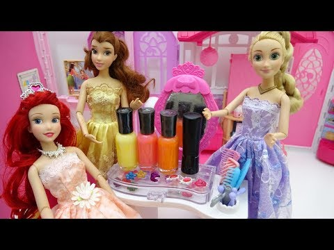 Disney Princesses Dolls Rapunzel Ariel - Dresses - Lipstick - Painting nails - Clothes