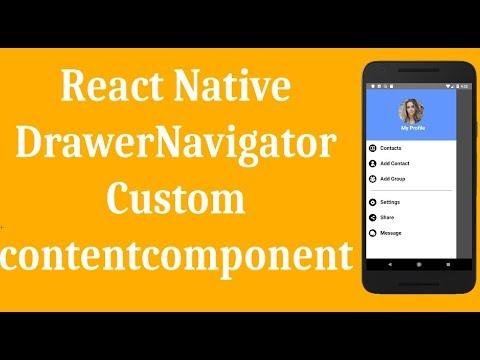 React Native Drawer Navigator Example - Custom Contentcomponent