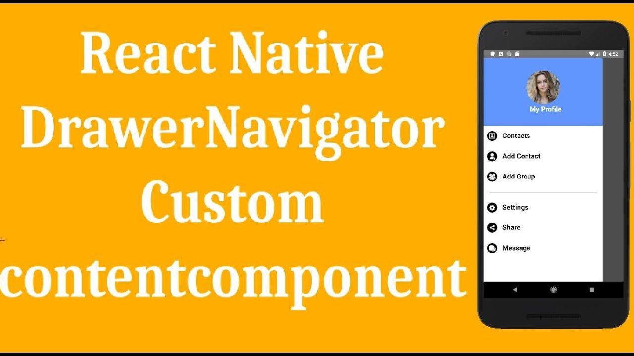 React Native Drawer Navigator Example - Custom Contentcomponent, part II