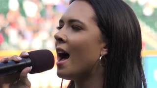 Kaeyra [Caroline Baran] sings National Anthem @ White Sox vs. Minnesota Twins game