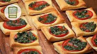 Blätterteig-Tomaten-Quadrate Rezept #chefkoch