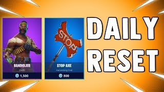 NEW BANDOLIER SKIN & STOP AXE!! Fortnite Daily Reset & NEW Items in Item Shop