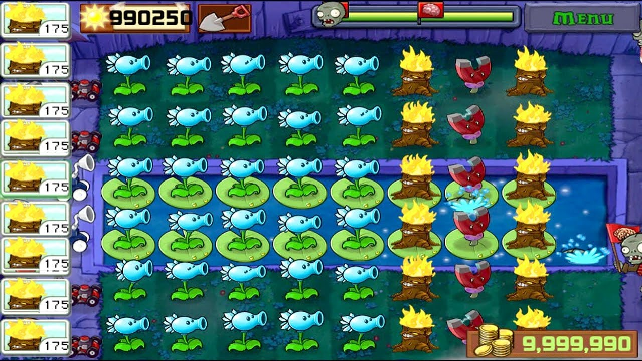 Best strategy Plants vs Zombies   Turn Snow Pea into Fire Ball Against Jack-in-the-Box Zombie**