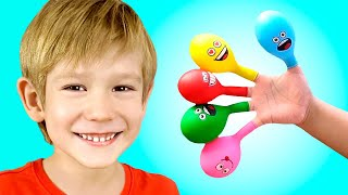 Daddy Finger Nursery Rhymes | Learn Colors With Balloons