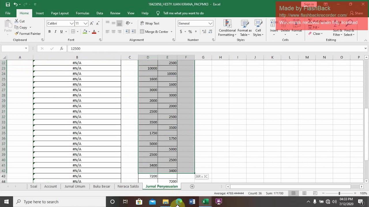 3 Neraca Saldo Dan Jurnal Penyesuaian Menggunakan Ms Excel Youtube