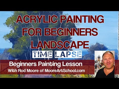 Acrylic Painting For Beginners Landscape – Time Lapse #MooreMethod