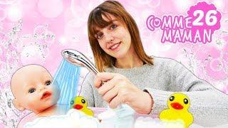 Vidéo en français pour enfants. Comme maman № 26. Le bain pour bébé born Emily