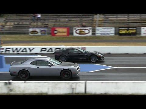 Hellcat battles ZR1 Corvette 1 4 mile drag races,the fastest Vette vs the fastest Dodge