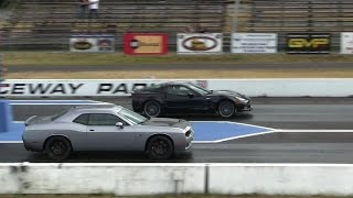 Hellcat battles ZR1 Corvette-1/4 mile drag races,the fastest Vette vs the fastest Dodge