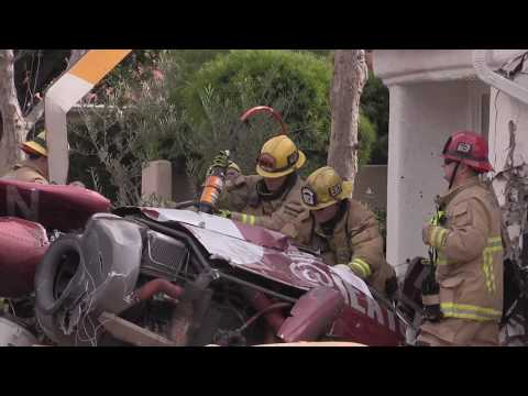HELICOPTER CRASHES INTO HOUSE IN NEWPORT BEACH, CALIFORNIA