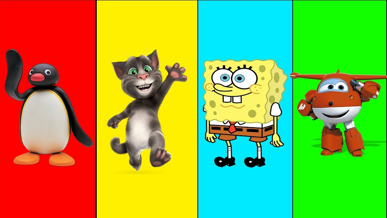 Wrong Heads Spongebob Pingu Super Wings Tom Finger family song Nursery  Rhymes and Learn Colors