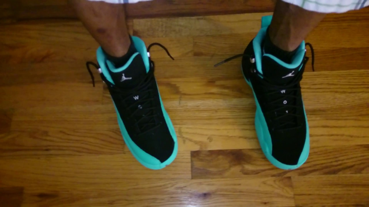1bfa7129832cfd Air Jordan retro 12 jade on foot look - YouTube