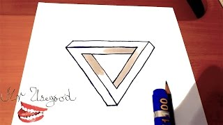 How to Draw The IMPOSSIBLE TRIANGLE | Step by Step Easy - Optical 3D Illusion on paper
