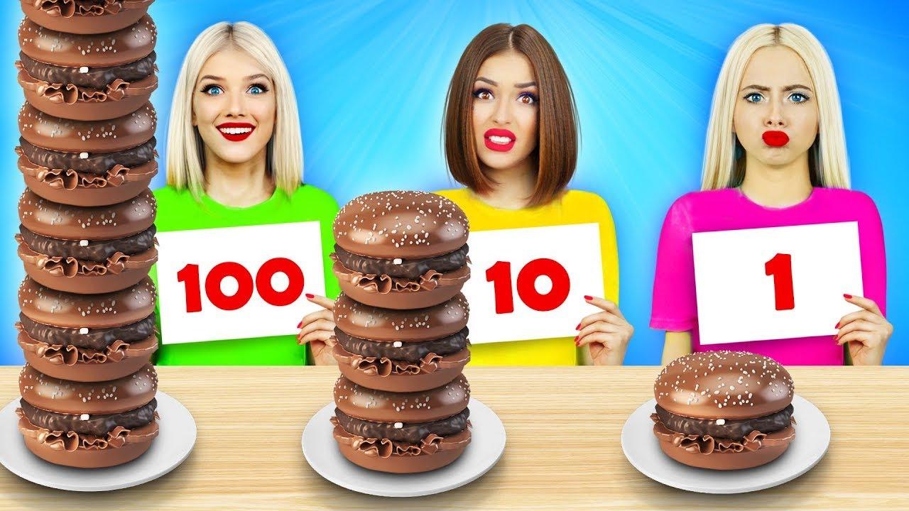 Desafio: 100 Camadas de Chocolate | 24 Horas de Doces! Chocolate VS Comida de Verdade por RATATA