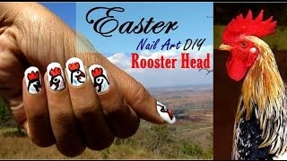 Easter DIY -  Rooster Head Nail Art