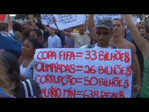 Protests in Brazil against high cost of hosting 2014 World Cup - no comment