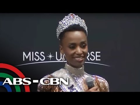 Miss Universe 2019 Zozibini Tunzi faces the media after winning the crown