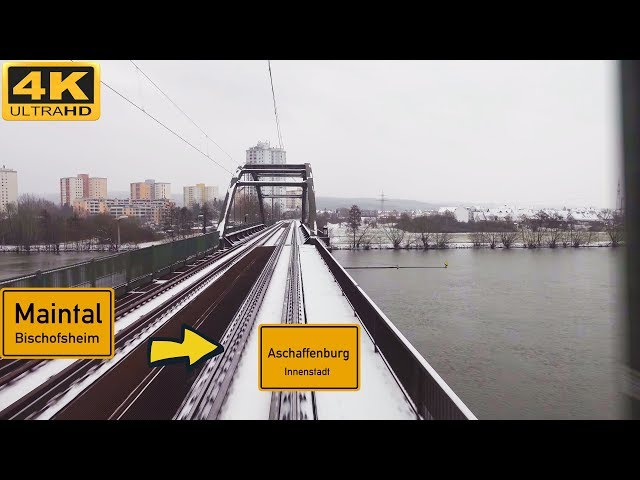 【4K】 Führerstandsmitfahrt  Mainz-Bischofsheim nach Aschaffenburg Hbf . Über Gross Gerau , Darmstadt