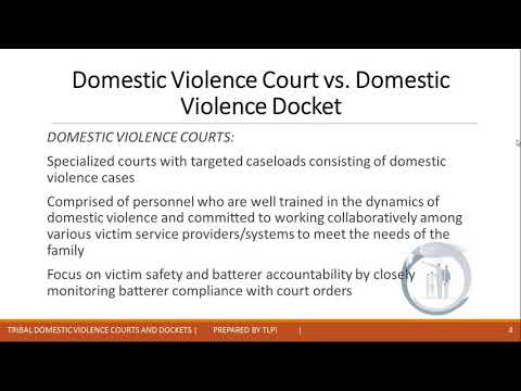 Tribal Domestic Violence Courts/Dockets: Key principles, custom, tradition...