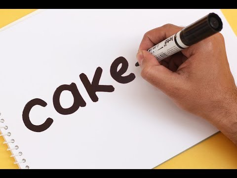 How to turn word CAKE into a Cartoon ! Text To Picture Art for kids