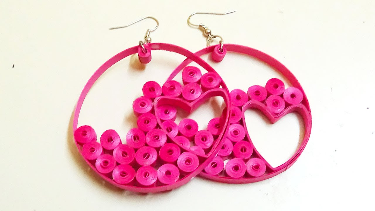 quilling earrings | how to make a beautiful pink hearts hoops
