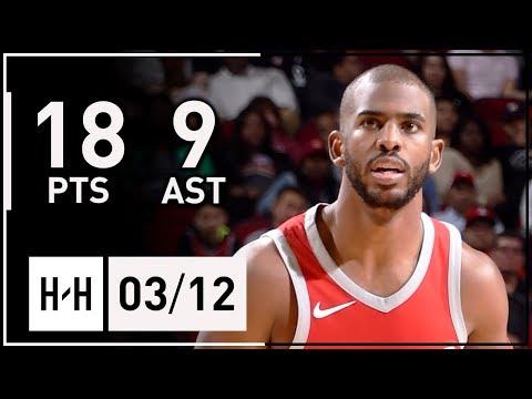 Chris Paul Full Highlights Rockets vs Spurs (2018.03.12) - 18 Pts, 9 Assists!