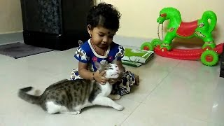 Adorable baby playing with cats and crows | Just for kids funny videos