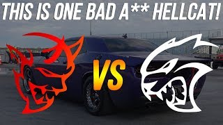I spotted a Hellcat that I just HAD TO race 👀   Dodge Demon vs Modded Hellcat