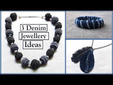 3 Old Jeans Recycled Jewelry Ideas | Denim jewelry tutorials | Handmade Jewellery|Creation&you