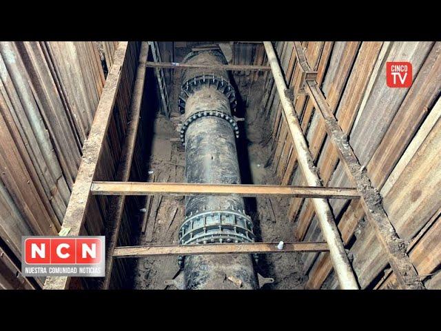 CINCO TV - AySA finalizó la reparación de una importante cañería para 100 mil vecinos de Carapachay