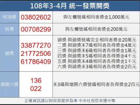 統一發票108年3-4月中獎獎號 - YouTube