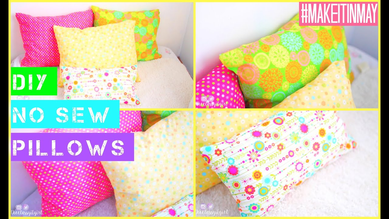 Diy No Sew Tshirt Pillow: DIY No Sew Pillows   #MAKEITINMAY 2015   YouTube,