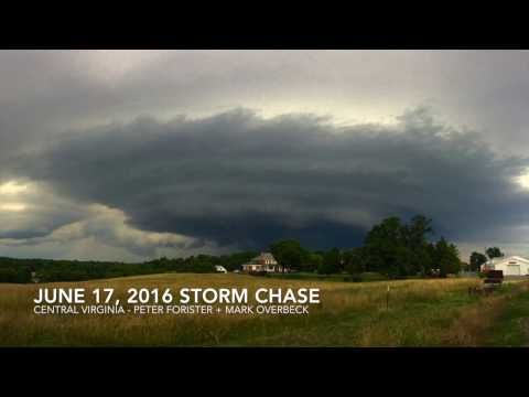 Storm Chase Footage in Central VIrginia - June 17, 2016