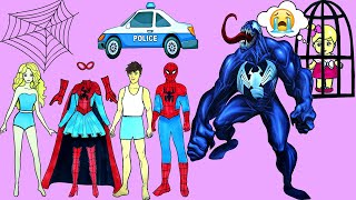 Paper Dolls Family Dress Up - Costumes Spiderman & Venom Handmade Quiet Book - Barbie Story & Crafts