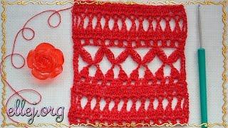 ♥ Узор Вишенки Мережка крючком • The Cherries crochet stitch • ellej.org