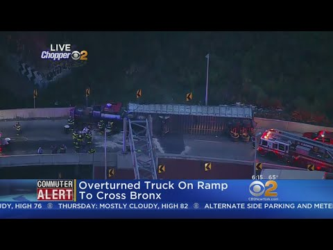 Overturned Truck On Ramp To Cross Bronx