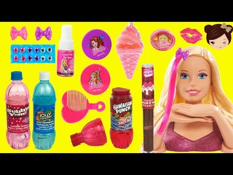 Giant Barbie Hairstyle Color Make Over DIY & Flavour Lip Gloss Cosmetic  Collection