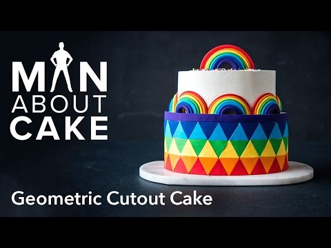 (man about) Rainbow Geometric Cutout Cake | Man About Cake with Joshua John Russell