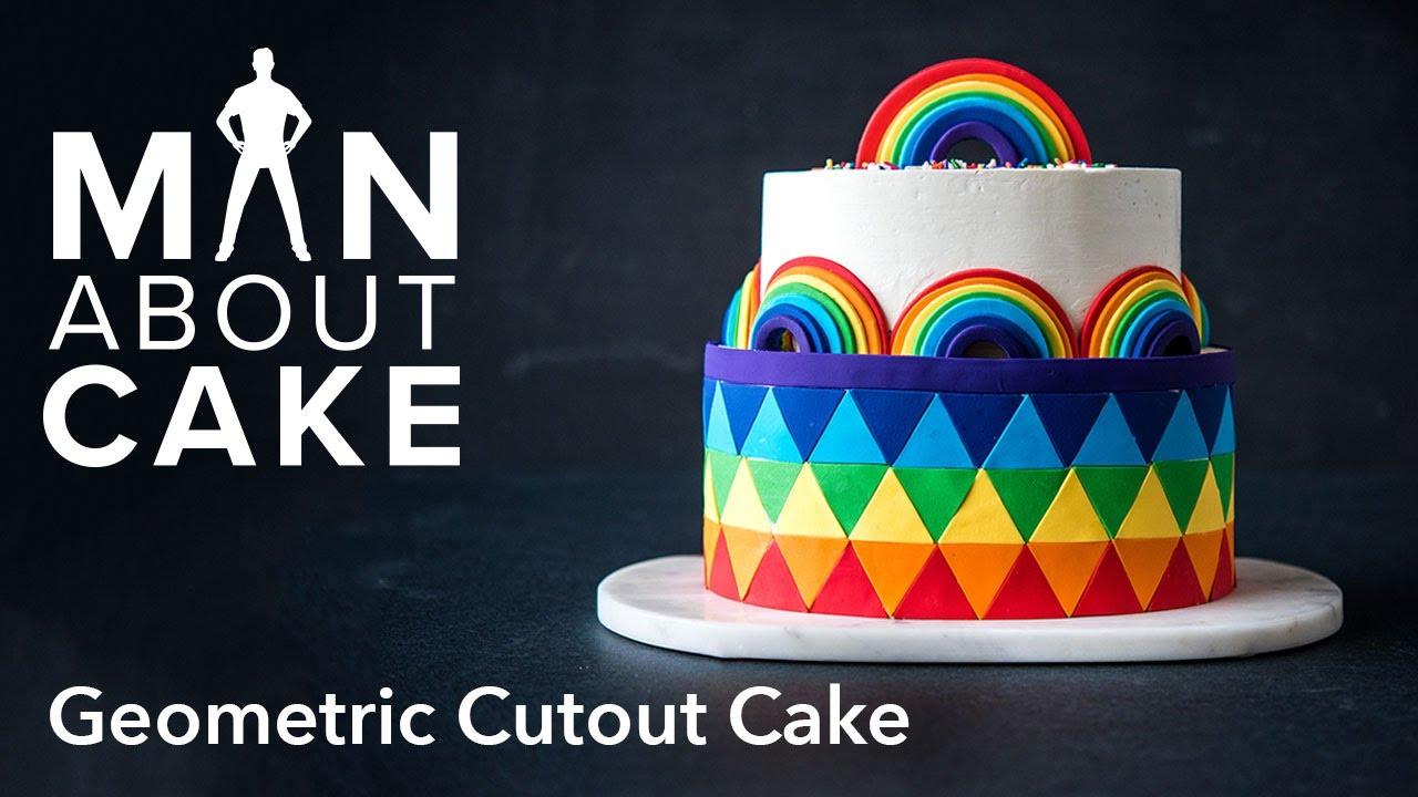 (man About) Rainbow Geometric Cutout Cake