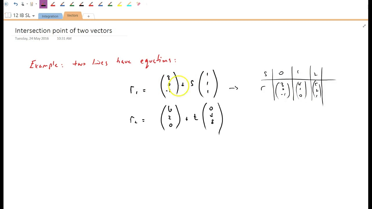 Intersection point of two vectors