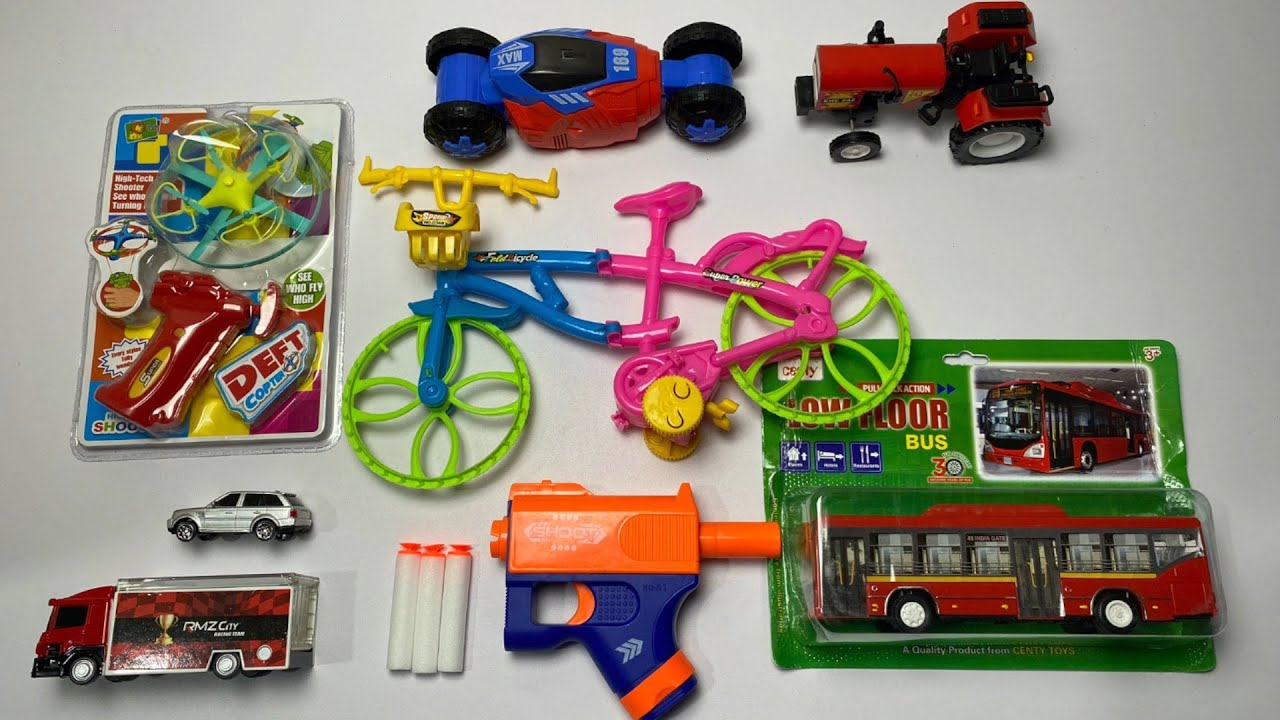 My Latest Cheapest toys Collection, truck car launcher, soft bullet gun, bicycle toy, city bus, car