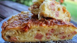 Η πιο τραγανή και εύκολη ζαμπονοκασερόπιτα - The best Ham & Cheese Pie