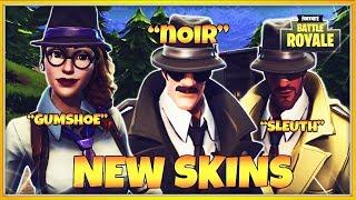 FORTNITE NEW SKINS LIVE | NOIR, SLEUTH & GUMSHOE SKINS (FREE V BUCKS GIVEAWAY)