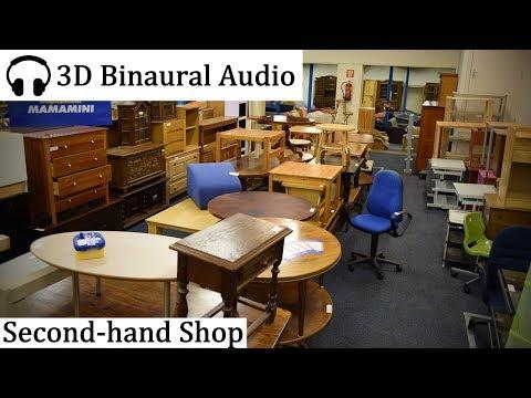 Walking Around Second Hand Shop (3D Binaural Audio)