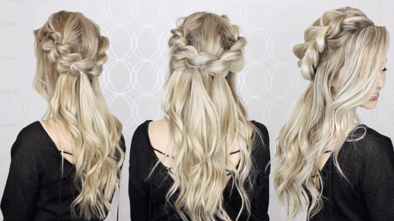 HOW TO: Half-Up Half-Down Pull Through Braid & Waves Tutorial | EASY ...
